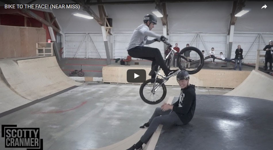 BIKE TO THE FACE! (NEAR MISS) Scotty Cranmer