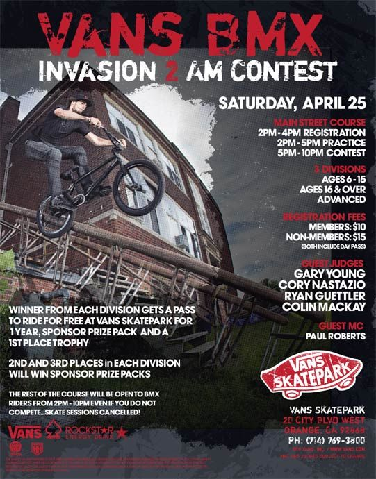 0d4aeb4923 Vans BMX Invasion 2   The Block this Sat!